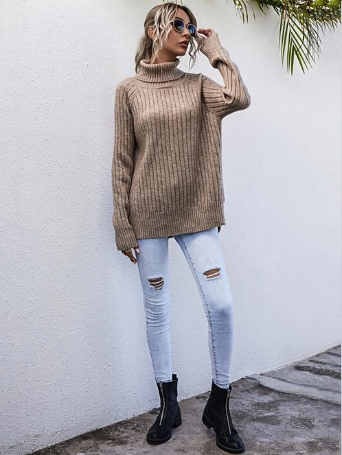 Turtleneck Raglan Sleeve Slit Hem Sweater ~ S thru L ~ Multiple Color Options