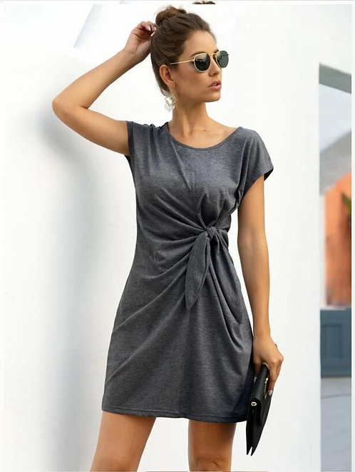 Solid Twist Front Tee Dress ~ S thru XL ~ Multiple Color Options
