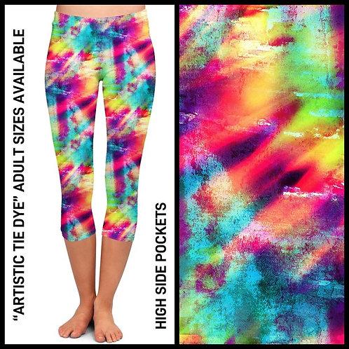 Artistic Tie Dye Capri Leggings W/Pockets