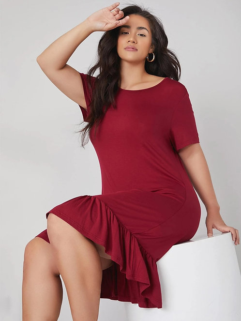 Solid Ruffle Hem Dress ~X sizes ~ Multiple Color Options