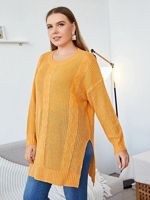 Split Hem Drop Shoulder Sweater ~ X Size