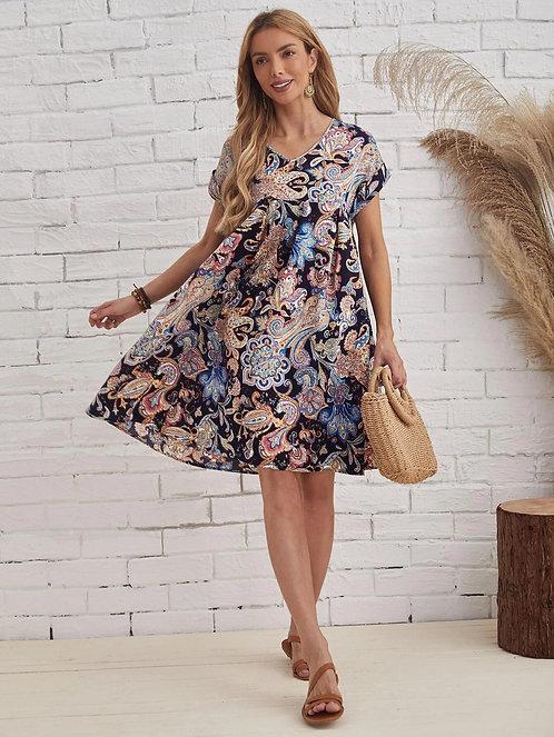 Dolman Sleeve Paisley Dress ~ S thru 5XL