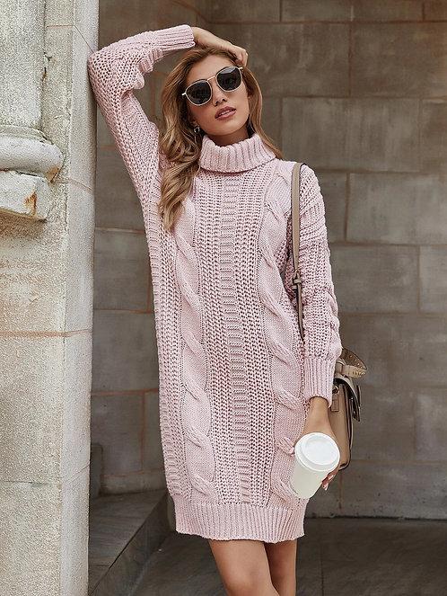 Cable Knit Turtleneck Sweater Dress ~ S.M.L ~ Color Options