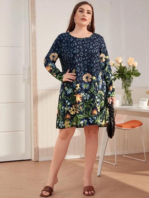 Keyhole Back Floral Print Dress ~ X Sizes