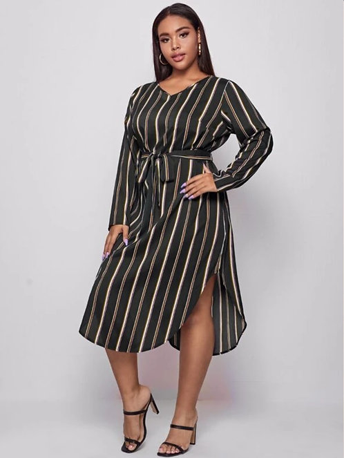 Striped Self Belted Curved Hem Dress ~ X Sizes ~ Color Options