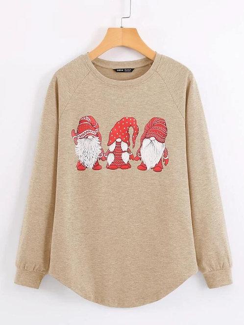 Christmas Print Raglan Sleeve Sweatshirt ~ S thru XL ~ Multiple Color Options