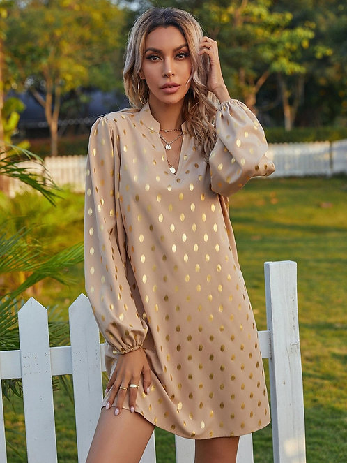Notched Neck Gold Polka Dotted Tunic Dress ~ S thru XL ~ Multiple Colors