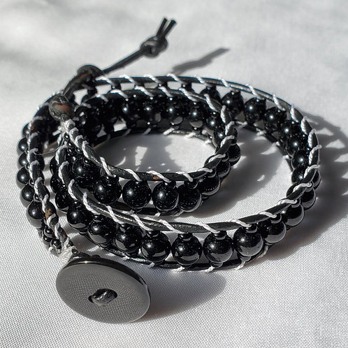 Black on Black Double Wrap Bracelet