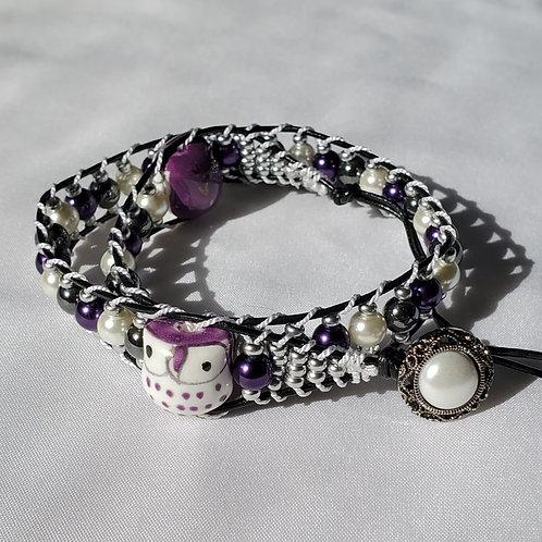 Twilight Owls Double Wrap Bracelet