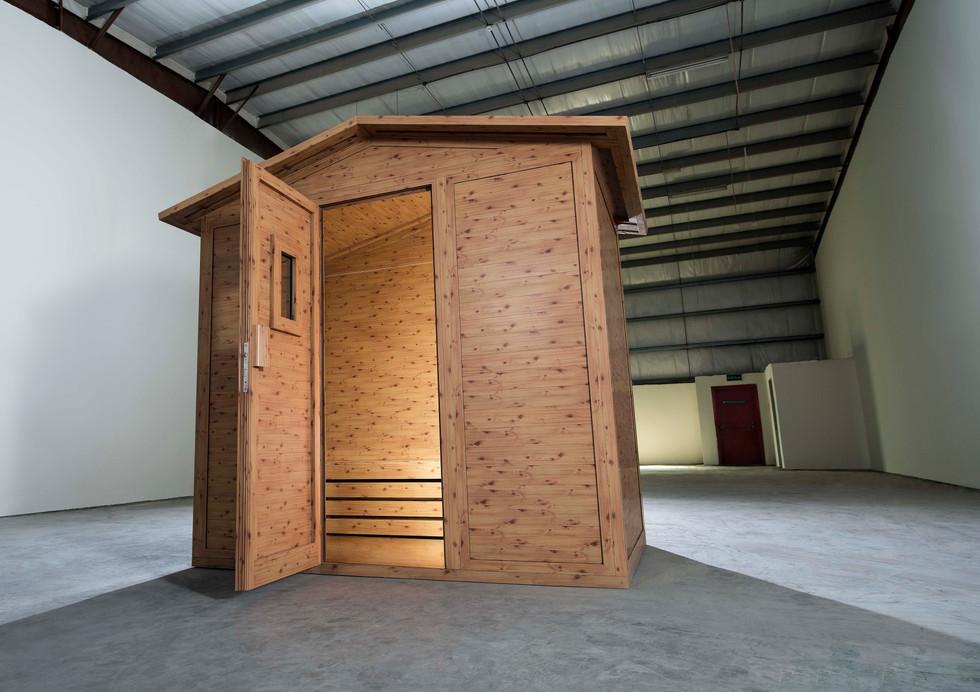 How to convince an architect aluminium can look like wood: build an aluminium sauna.