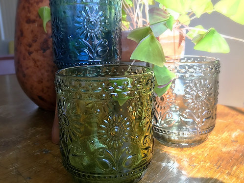 Transparent Flower Embossed Green Glass