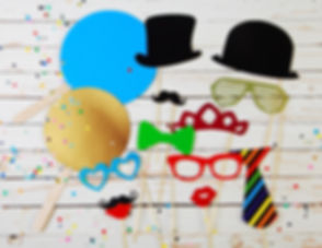 Trendy colorful party background of fun