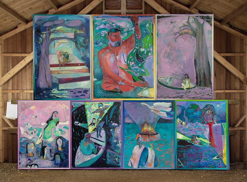 Oliver Dorrell Artist Fishes Swallow Fishes Or The Flood. Indian Minature Painitng. Ramayana Mahabarata Annamayya