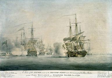 Drawing of British Ships in Charleston Harbor