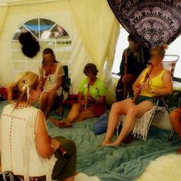 Fluitles geven op het Chapat Sjamanistisch Festival 2019