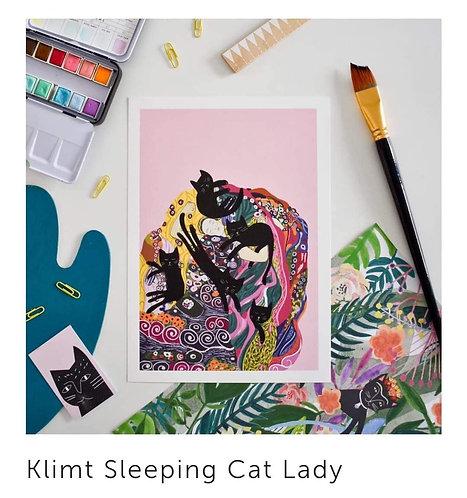 Affiches Klimt Sleeping Cat Lady
