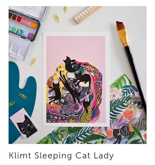 Affiches Klimt Sleeping Cat Lady