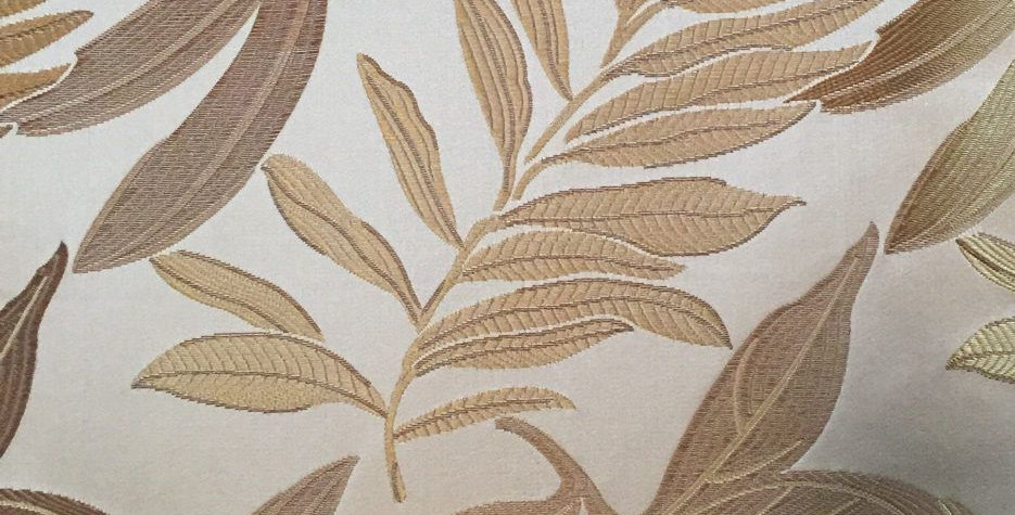Gold and Cream Silk - Tropical Leaves