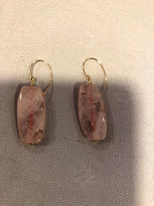 Rose Quartz earrings set with sterling silver+gold plate