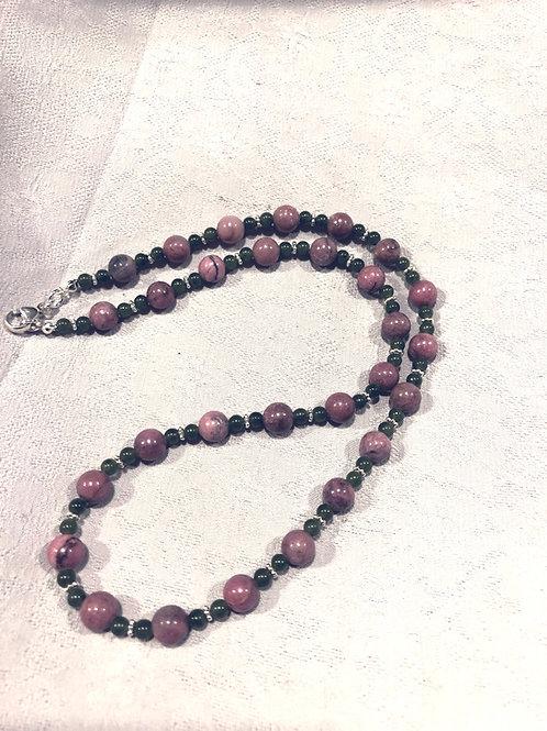 Rhodonite + jade +sterling silver necklace