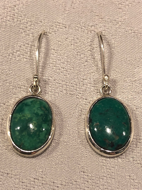 Natural turquoise earrings set with sterling silver