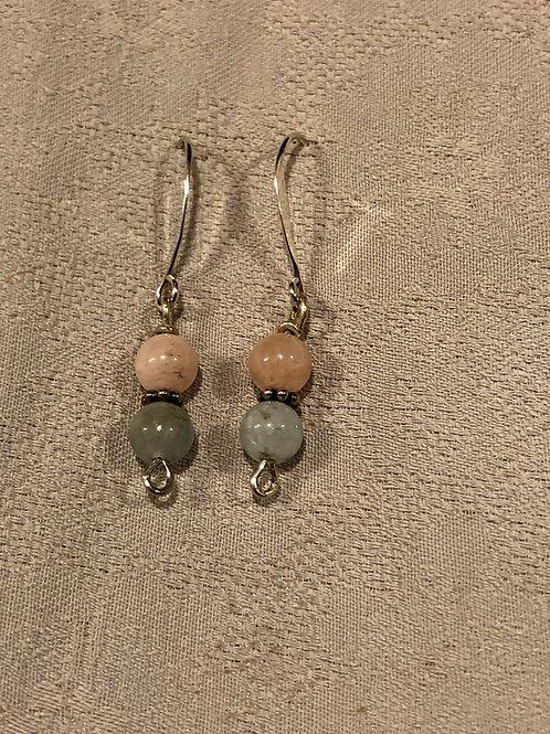 Morganite earrings set with sterling silver
