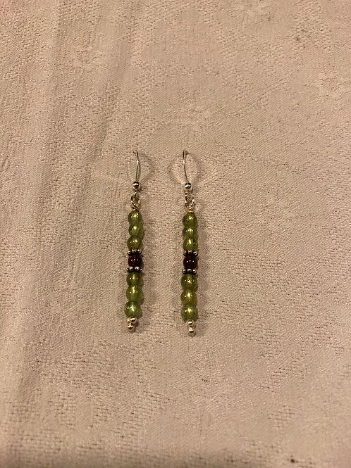 Peridot+garnet earings set with sterling silver