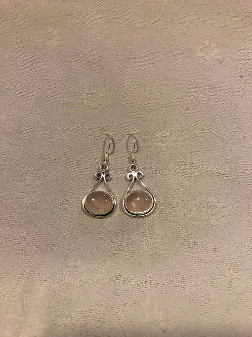 Rose Quartz earrings set with sterling silver