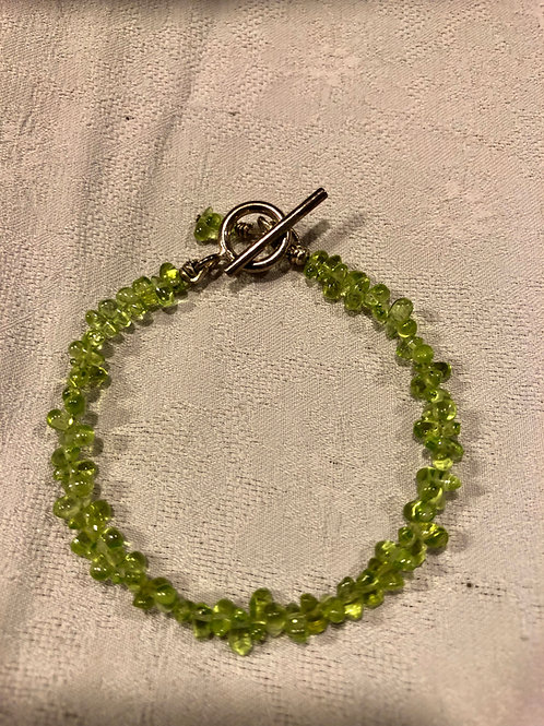 peridot bracelet with sterling silver clasp