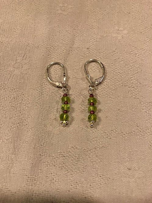 peridot +small garnet earrings set with sterling silver