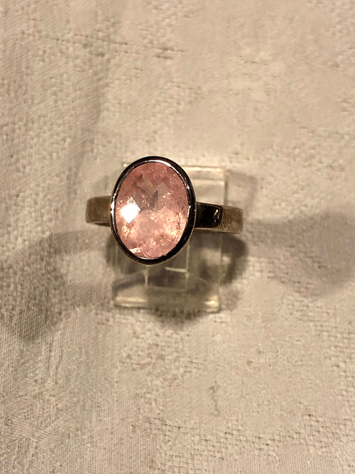 Morganite ring set with sterling silver size8