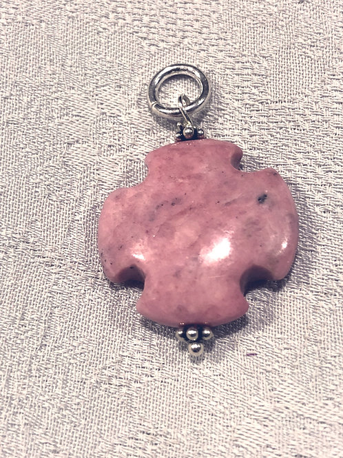 Rhodonite pendant set with sterling silver