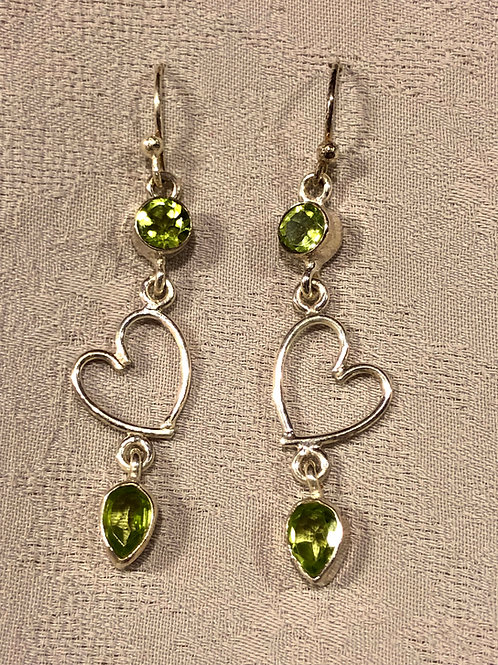 peridot earrings set with sterling silver