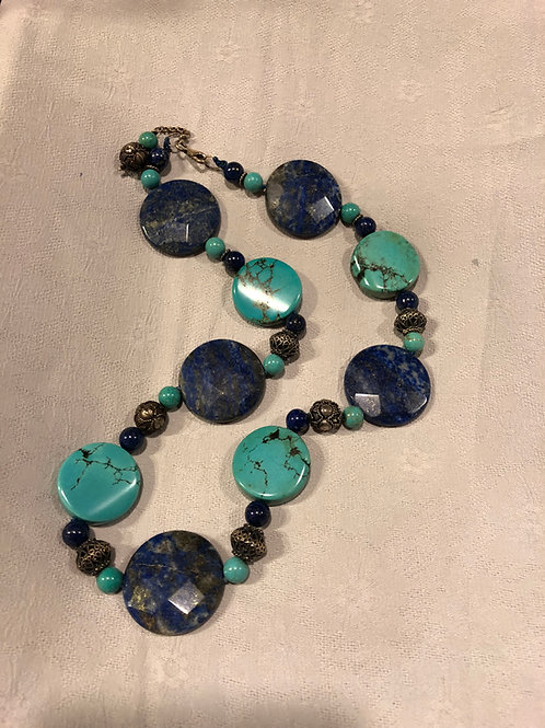 Turquoise +Lapis  necklace with silver clasp