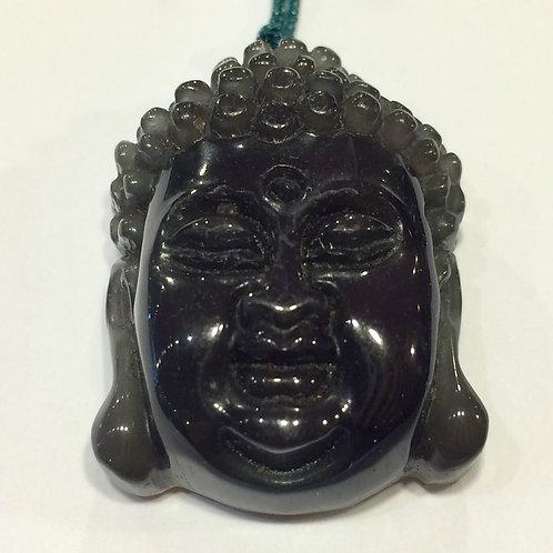 Obsidian Buddha Pendant 3