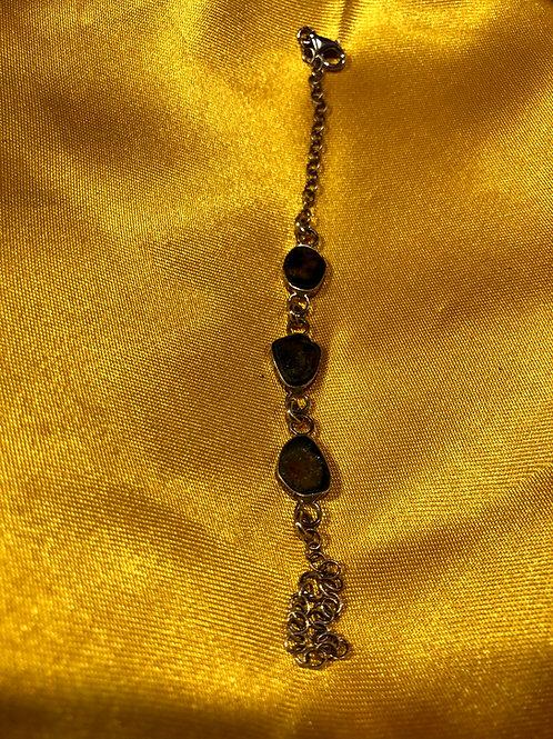 Tourmaline bracelet set with sterling