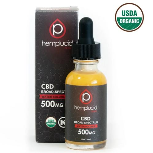 500MG USDA Organic Hemplucid Zero Broad-Spectrum CBD Water Soluble