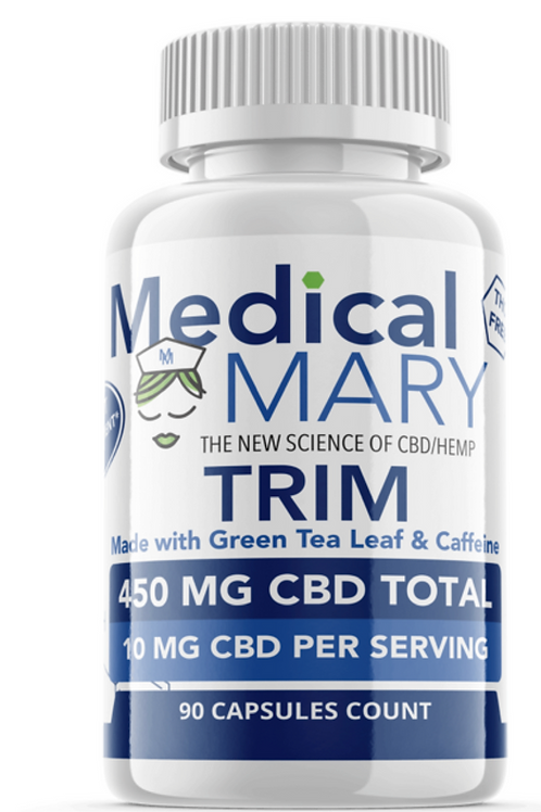 Trim CBD – Weight Loss Capsules with Green Tea & Caffeine – 450 MG CBD – 90 Coun