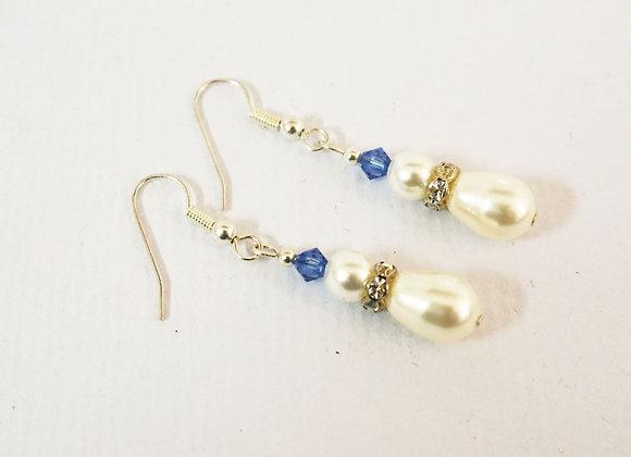 Snowman Earrings - Pearl/blue