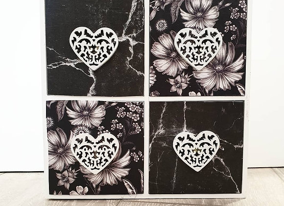 Hand decoupaged drawers Monochrome