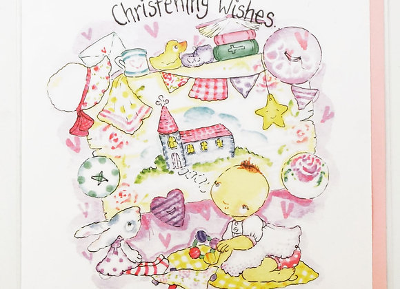 GIRL Christening Wishes CARD