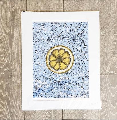 Blue Lemon Acrylic Painting