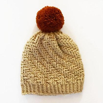 Beige and Orange Crochet Hat