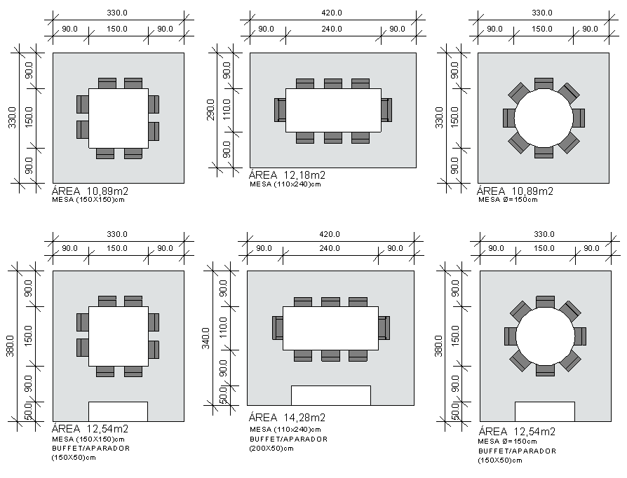 Amado Salas de jantar e copa - Série Pré-dimensionamento de Ambientes  KX07