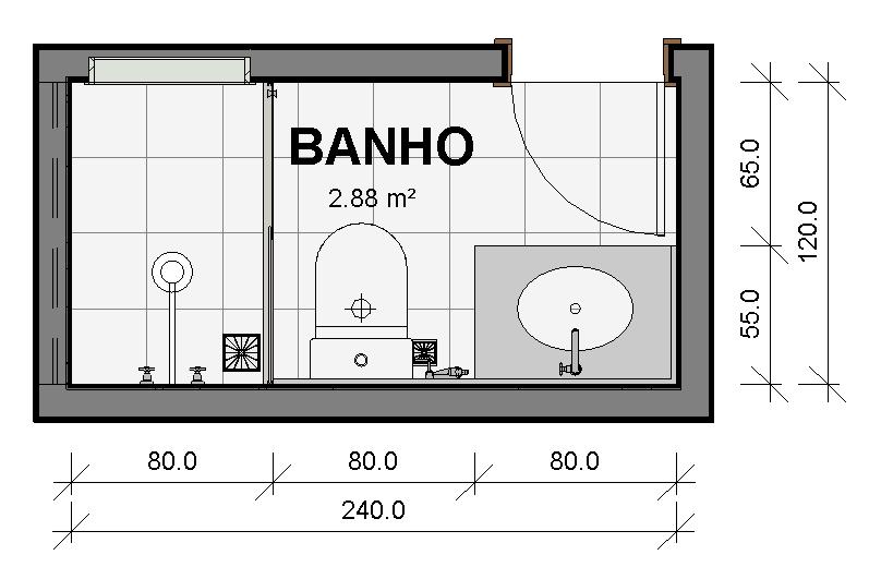 Largura Minima Porta Banheiro : Banheiros singles s?rie pr? dimensionamento de ambientes