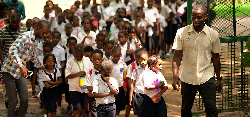Schoolchildren visiting Lola ya Bonobo sanctuary in Congo.