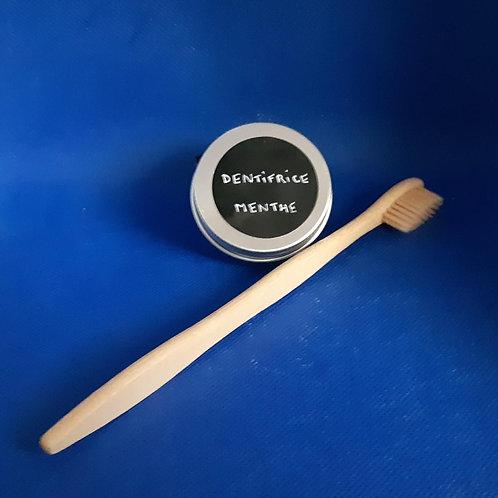 Dentifrice solide goût menthe poivrée + brosse a dent en bambou