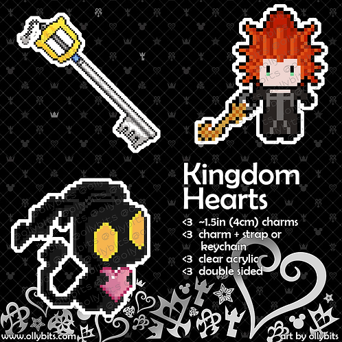 Kingdom Hearts Pixel Art Acrylic Charm