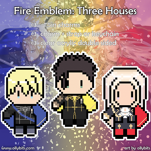 Fire Emblem Three Houses Pixel Art Acrylic Charm