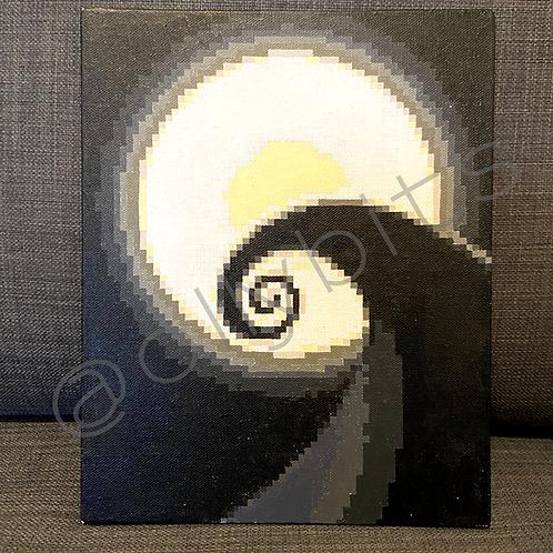 Spiral Hill Pixel Art Painting Original